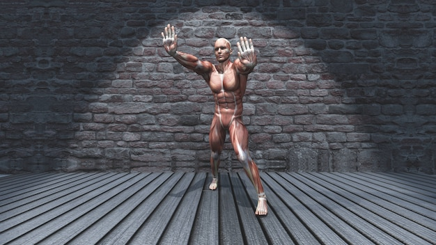 3d male figure in standing stretch pose in grunge interior