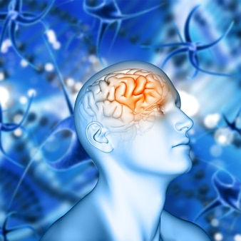 Figura maschile 3d con cervello evidenziato sullo sfondo delle cellule virus