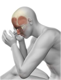 頭の痛みと3d男性の図