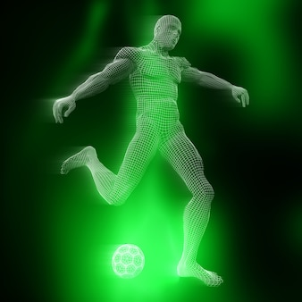 3d male footballer figure with wireframe design