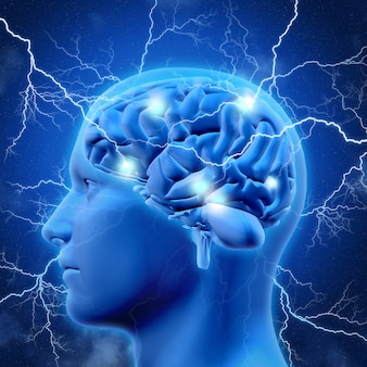 3d мужская голова и мозг с молнией