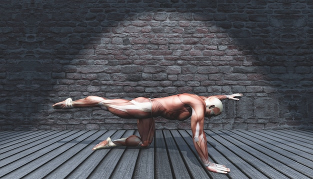 3d male in leg and arm stretch pose in grunge interior