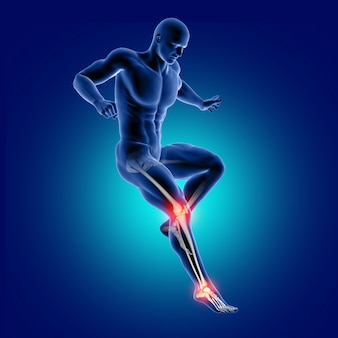3d male medical figure jumping with knee and ankle bone highlighted
