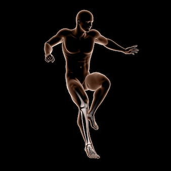 3d male medical figure jumping with leg bones highlighted Free Photo