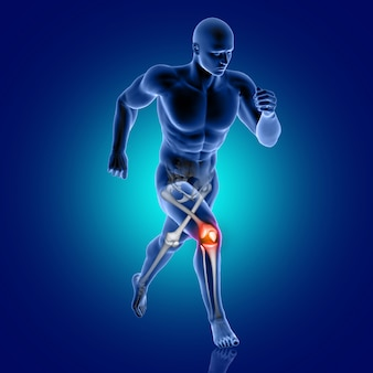 3d male medical figure running with knee bone highlighted