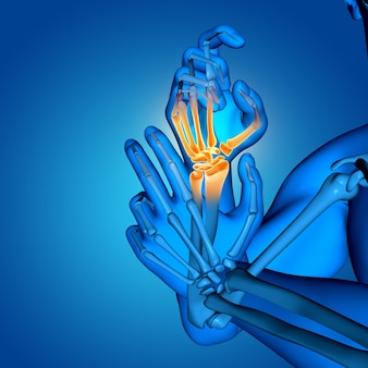 3d male medical figure with close up of hand bones