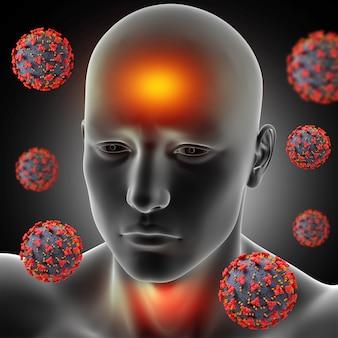 3d мужская медицинская фигура с лихорадкой, болью в горле и вирусными клетками covid 19