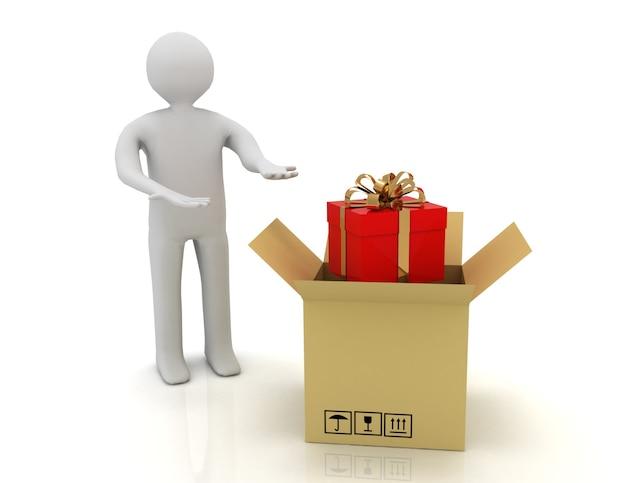 3차원, 남자, 와..., 선물, 에서, catdboard