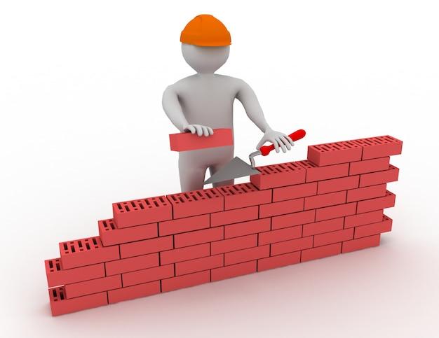 3d человек, строящий стену из красного кирпича