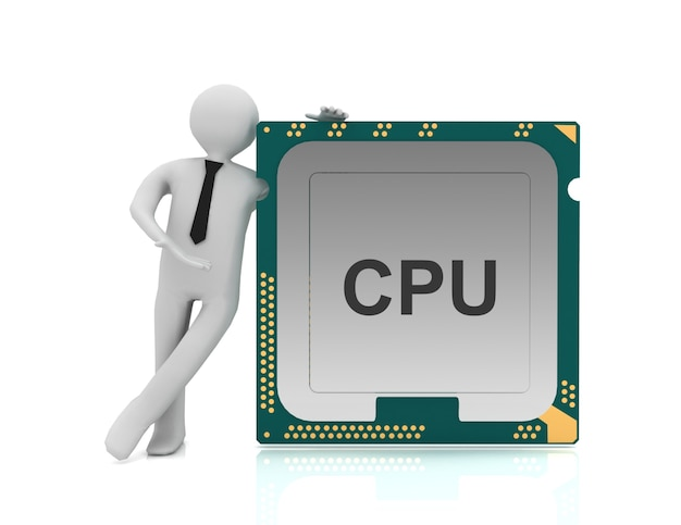 3d man and cpu chip, central processor unit on white background.