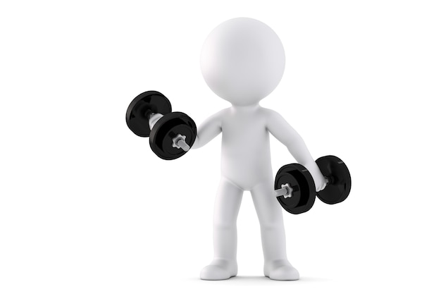 3d man exercising with dumbbells. 3d illustration. isolated. contains clipping path