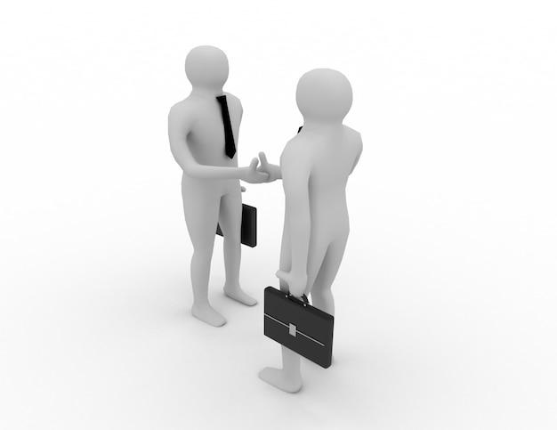 3d男の握手。ビジネスコンセプト