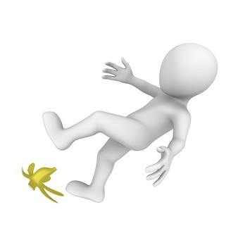 3d человек поскользнулся на банане.