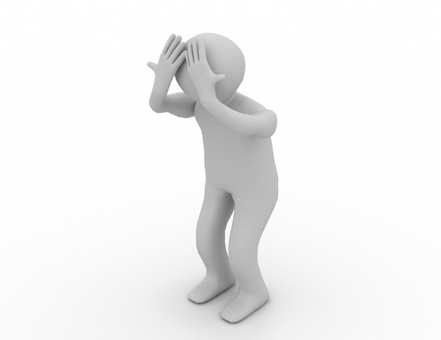 3d man headache isolated over white background