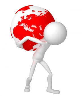 3d man holding earth globe on his shoulders