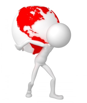 3d man holding earth globe on his shoulders.