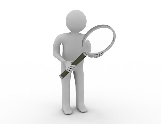 3d человек поиск человека увеличительное стекло линза искать