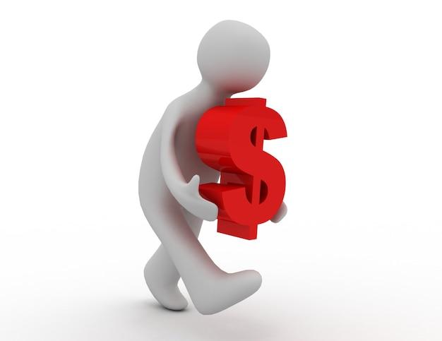 Значок 3d человек работает со знаком доллара. 3d визуализированная иллюстрация