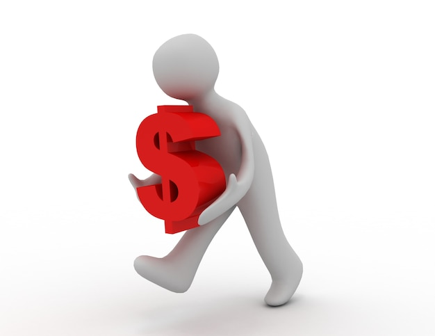 3d man icon running with a dollar sign . 3d rendered illustration