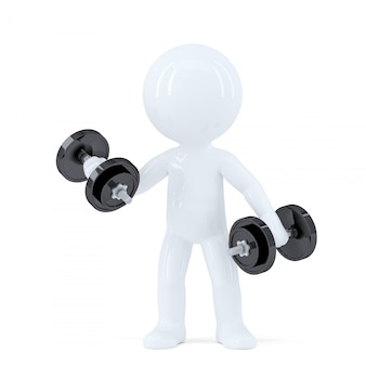 3d man lifting dumbbells. isolated. contains clipping path