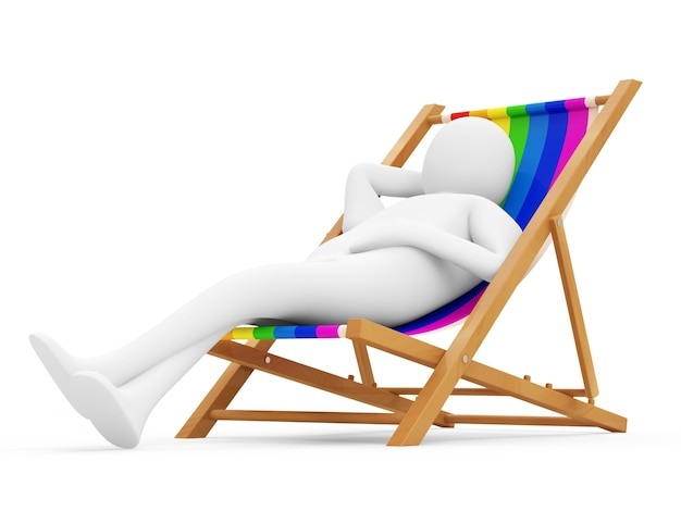 3d man lying on a beach chair