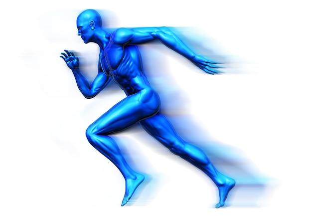 3d、人の筋肉、皮膚の陰影の解剖学的な人の側面のビュー