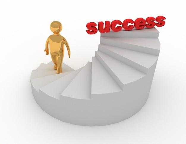 3차원, 남자, 통하고 있는, 계단, 성공