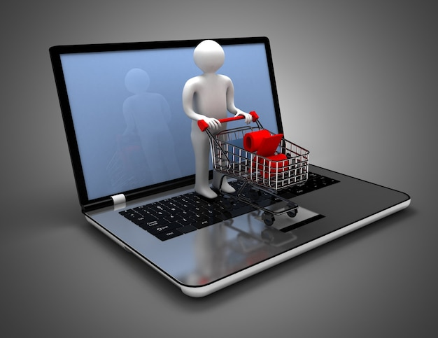3d man online shopping. 3d illustration