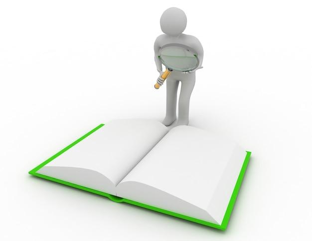 3d человек, человек, человек и увеличительное стекло и книга