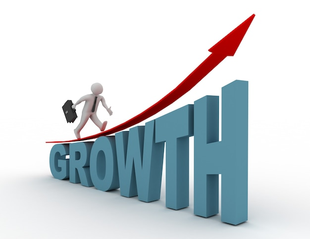 3d man run on word growth. success concept
