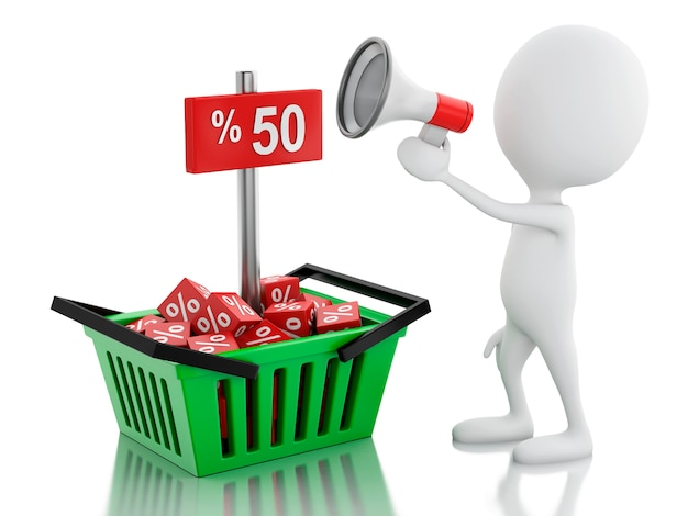 メガホンと買い物カゴと3d男の販売の発表。