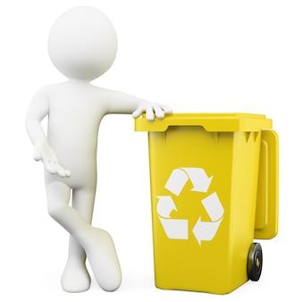 3d человек показывает желтую корзину для переработки
