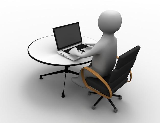 3d человек сидит за столом и работает на портативном компьютере