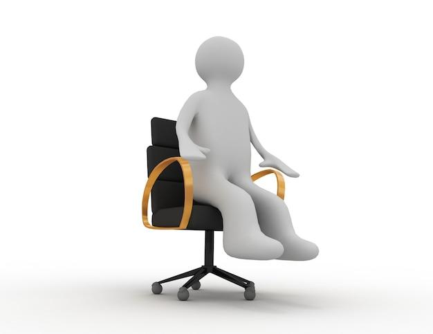 3d человек, сидящий на деловом стуле