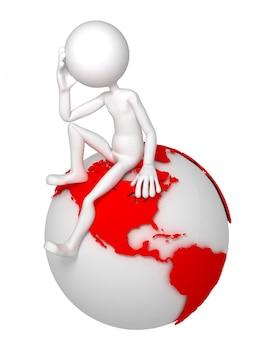 Человек 3d сидя на глобусе земли в заботливом представлении.