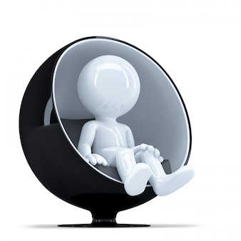 3d man sitting on the stylish round chair