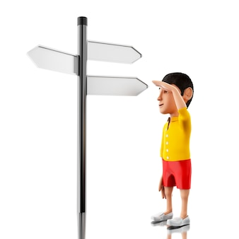 3d man standing in front of a road sign.