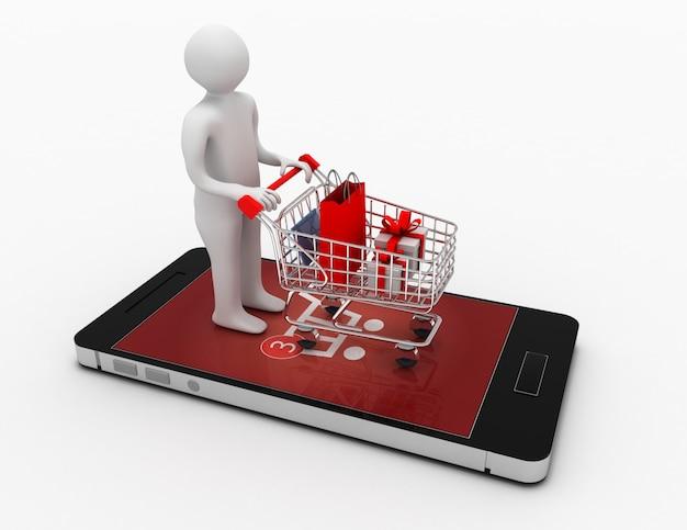 장바구니와 smartphone.online 쇼핑 개념 3d 남자. 3d 그림