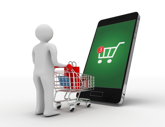 3d человек с тележкой и смартфон. концепция онлайн-покупок. 3d иллюстрация