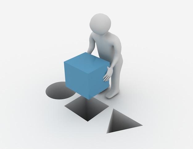 3d человек с кубом