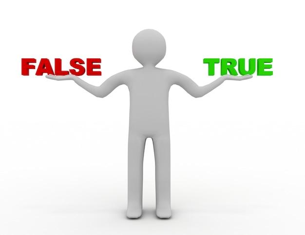 3d человек с ложью и истиной. 3d визуализированная иллюстрация