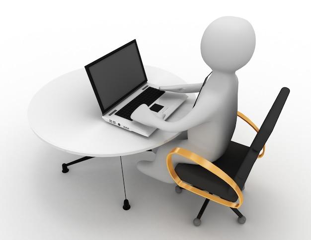 3d человек с ноутбуком. 3d визуализированная иллюстрация