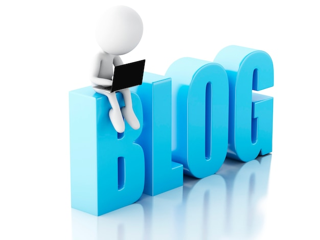 3d man with laptop and blog sign. news concept on white background