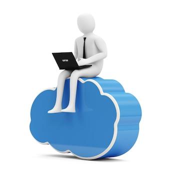 3d человек с ноутбуком, сидя на символе облачных вычислений