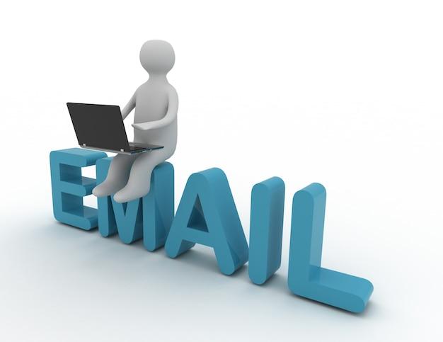 電子メールに座っているラップトップを持つ3d男
