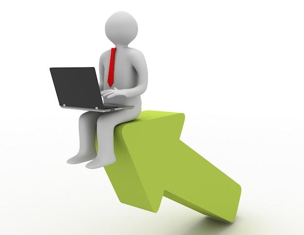 矢印の上に座っているラップトップを持つ3d男。成功のコンセプト