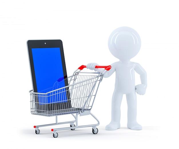 쇼핑 카트 및 빈 화면 태블릿 3d 남자.