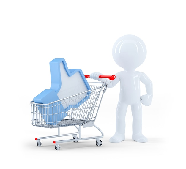 ショッピングカートを持つ3d男。白い背景で隔離