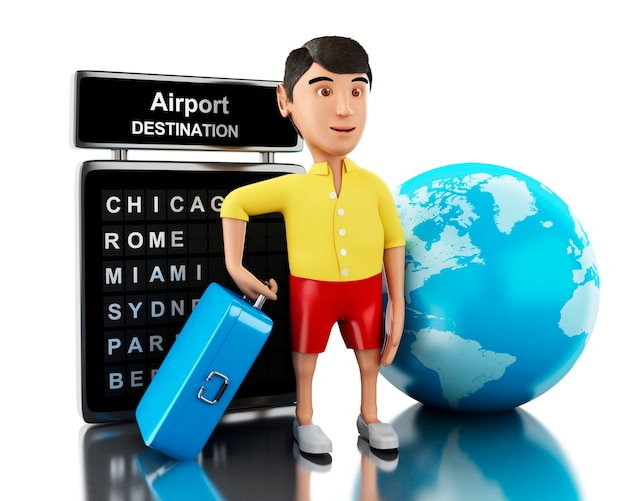 3d man with a suitcase goes on vacation.