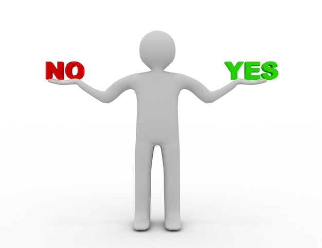 3d man with yes  and no. 3d rendered illustration